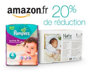 Code promo Amazon : 20% de réduction sur les couches