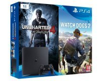 Auchan: Pack Console PS4 Slim 1To + 2 jeux (Uncharted 4 et Watch dogs 2) à 299,99€