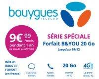 Bouygues Telecom: Forfait mobile B&YOU tout illimité + 20Go à 9,99€/mois pendant 1 an