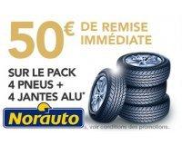 Norauto: 50€ de remise immédiate sur l'achat d'un pack 4 pneus + 4 jantes alu