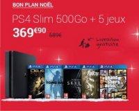 Fnac: PS4 Slim 500 + 5 jeux (Fallout 4, GTA V, Tomb Raider, Deux EX, Skyrim) à 369,90€
