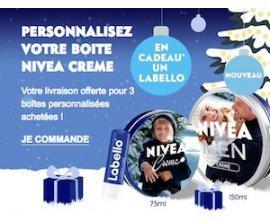NIVEA: Livraison offerte pour 3 boîtes personnalisées achetées + un Labello offert