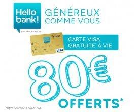 Hello bank!: [Offre de bienvenue] 80€ offerts + votre carte Visa gratuite à vie