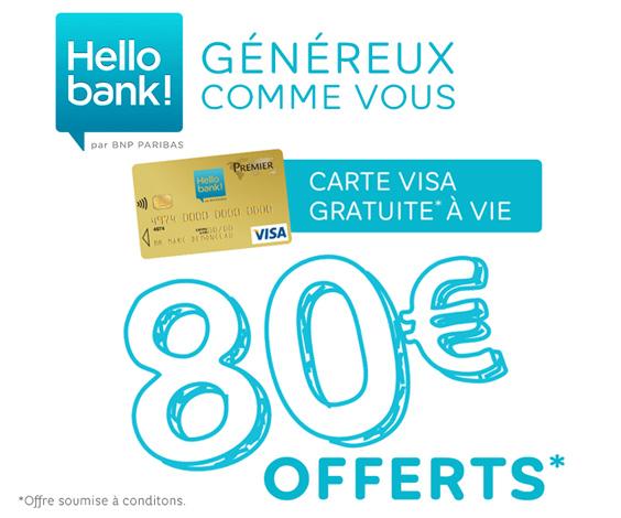 Code promo Hello bank! : 80€ offerts pour l'ouverture d'un compte bancaire