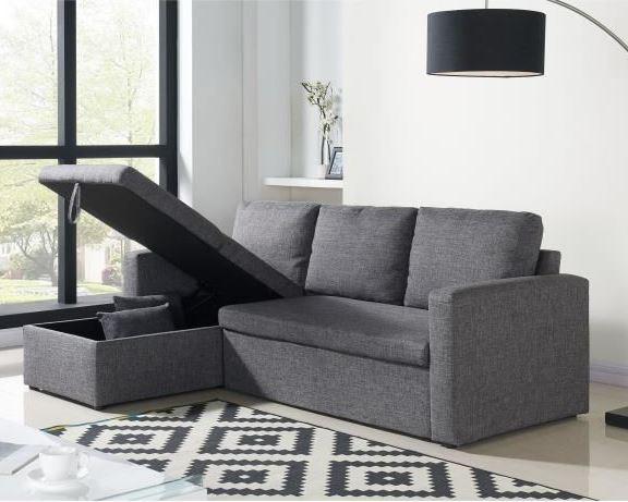 canap d 39 angle aspen convertible en tissu gris chin 299. Black Bedroom Furniture Sets. Home Design Ideas
