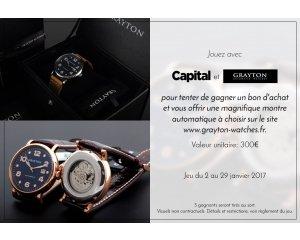 Capital: 5 bons d'achat Grayton-watches.fr de 300€ à gagner