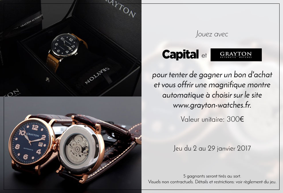 Code promo Capital : 5 bons d'achat Grayton-watches.fr de 300€ à gagner