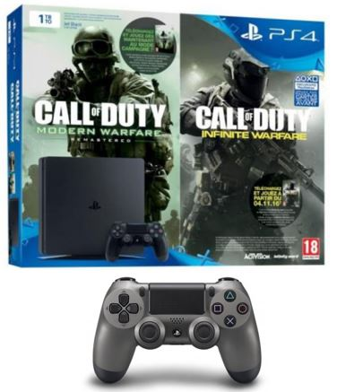 Code promo Micromania : 1 pack PS4 Slim 1To + 2 jeux Call of Duty acheté = 1 manette PS4 Acier offerte