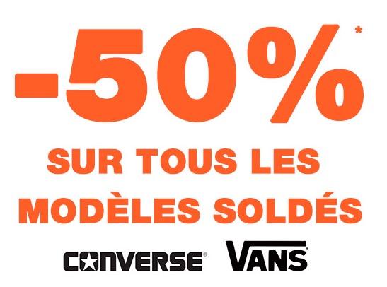Code promo Courir : 50% de réduction sur toutes les chaussures Converse et Vans soldées