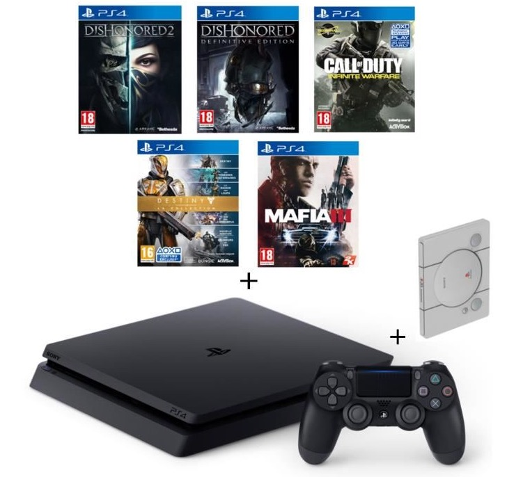 Code promo Cdiscount : PS4 Slim 500Go + 5 jeux (CoD IW, Dishonored 1&2, Mafia III, Destiny) + Steelbook