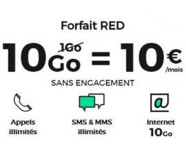 SFR: Forfait mobile Appels, SMS & MMS illimités + 10Go d'Internet à 10€ par mois