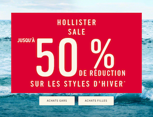 Code promo Hollister : Jusqu'à -50% sur une sélection d'articles + livraison gratuite dès 50€ d'achats