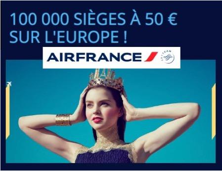 Code promo Air France : Promotion 100 000 sièges à 50€ sur les vols pour l'Europe