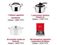 Lagostina: 7 cocottes, 30 ménagères Lagostina de 24 pièces, 2 casseroles et d'autres lots