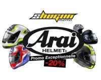 Shogunmoto: 20% de rabais sur l'ensemble des casques moto de la marque Arai