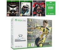 Cdiscount: Xbox One S 500Go FIFA 17 + 2 jeux Batman + Blu-Ray + Live 3 mois à 299,99€