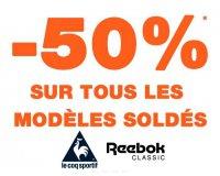 Courir: - 50% sur tous les modèles de chaussures Le Coq Sportif et Reebok Classic soldés