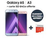 Cdiscount: 1 carte SD 64 Go offerte + jusqu'à 50€ remboursés sur le Samsung Galaxy A5 ou A3