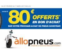 Allopneus: Jusqu'à 80€ offerts sur votre future commande en achetant 2 ou 4 pneus Goodyear