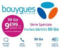 Bouygues Telecom: Forfait mobile tout illimité + 50 Go d'Internet 4 G à 9,99€ / mois pendant 1 an