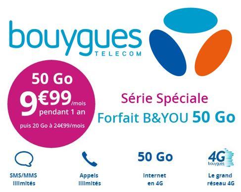 Code promo Bouygues Telecom : Forfait mobile tout illimité + 50 Go d'Internet 4 G à 9,99€ / mois pendant 1 an