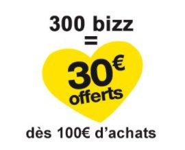 Bizzbee: 30€ offerts dès 100€ d'achats dès 300 points de fidélités Bizz cumulés