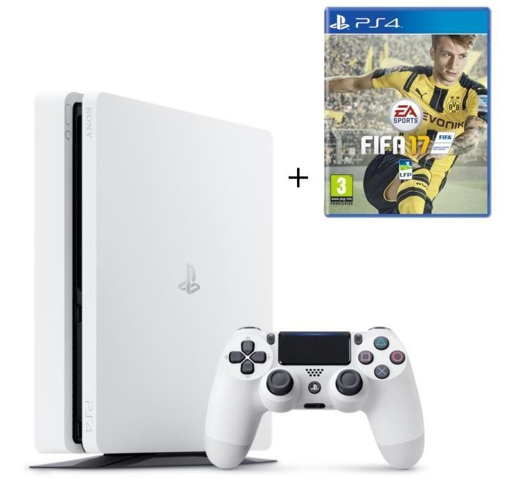 Code promo Cdiscount : PS4 Slim Glacier White 500 Go + FIFA 17 à 309,99€