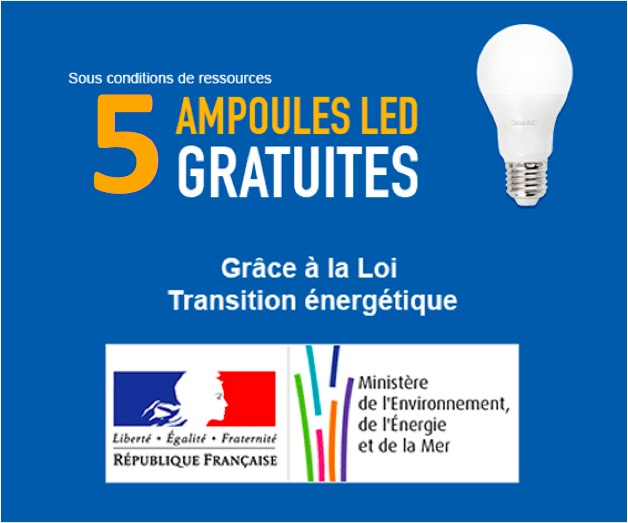 Code promo Mes Ampoules Gratuites : Transition Energétique: 5 ampoules led Gratuites, 15 en + pour 1€ ou 25 pour 2€