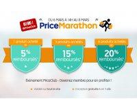PriceMinister: PriceMarathon : 1 produit acheté = 5% remboursés, 3 = 15% et 6 = 20%