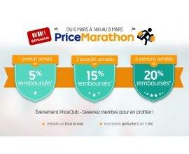 Rakuten-PriceMinister: PriceMarathon : 1 produit acheté = 5% remboursés, 3 = 15% et 6 = 20%