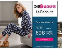 Showroomprive: E-carte cadeau La Redoute à 45€ pour 60€ de bon d'achat