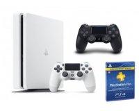 Micromania: PS4 Slim Blanche 500 Go + 2e manette + 3 mois d'abonnement PS Plus à 249,99€