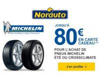 Norauto: Jusqu'à 80€ offerts en Tickets Kadéos pour l'achat de pneus auto Michelin