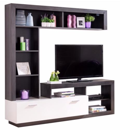 acheter populaire cc678 9c46a Meuble TV GLEN Blanc et bois noir à 139,19€ @ BUT