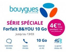 Bouygues Telecom: Forfait mobile sans engagement tout illimité + 10 Go d'internet à 4,99€ / mois