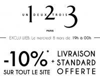 1.2.3: [De 19h à 00h][Journée de la femme] -10% sur tout le site & livraison offerte