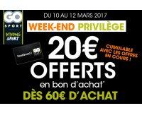 Go Sport: [Réservé carte fidélité FeelGood] 20€ offerts en bon d'achat dès 60€ de commande