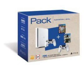 Fnac: PS4 Slim 500 Go Blanche + 2 Manettes + GTA 5 + CoD Infinite Warfare à 329,9€