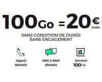 SFR: Forfait mobile illimité + 100 Go d'Internet à 20€/mois sans engagement et à vie