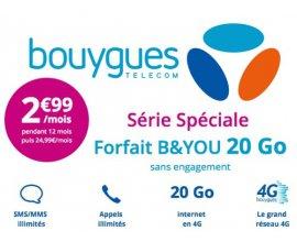 Bouygues Telecom: Forfait mobile B&YOU tout illimité + 20 Go d'Internet à 2,99€/mois pendant 1 an