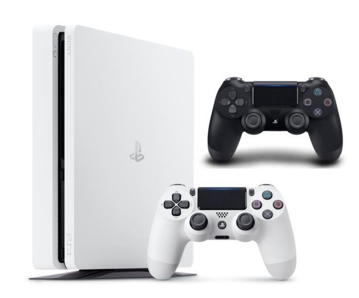 console ps4 slim 500 go noire ou blanche avec 2 manettes. Black Bedroom Furniture Sets. Home Design Ideas