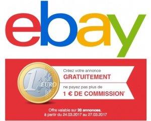 eBay: Publiez 20 annonces pour 1 euro de frais de commission seulement