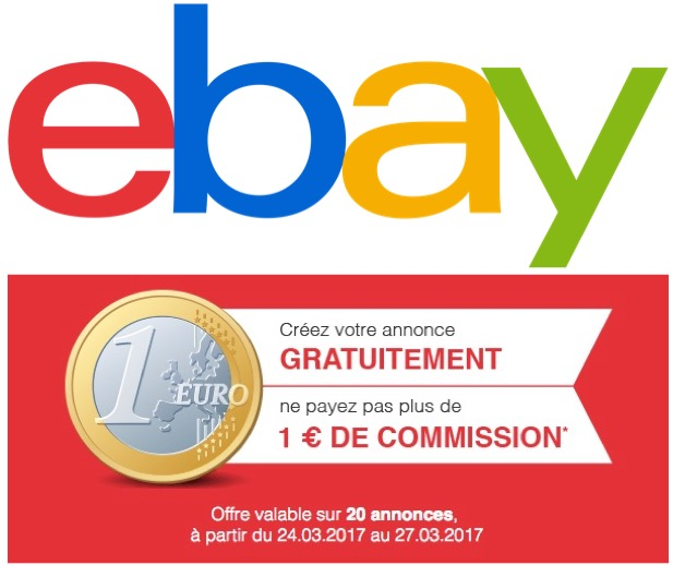 Code promo eBay : Publiez 20 annonces pour 1 euro de frais de commission seulement
