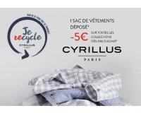 Cyrillus: 1 sac de vêtements déposé = 5€ de remise dès 20€ d'achats