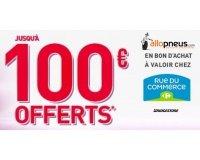 Allopneus: Jusqu'à 100€ offerts chez Rue du Commerce pour l'achat de pneus Bridgestone