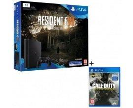 Cdiscount: PS4 Slim 1 To + 2 Jeux : Resident Evil 7 + CoD Infinite Warfare à 274,99€