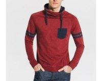 Jules: Tee shirt manches longues col snood en rouge ou gris à 13€