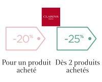 Clarins: -20% pour un produit acheté ou -30% sur deux sur tout le site