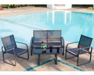 Salon de jardin Lychee 1 table basse, 2 fauteuils et un canapé à ...
