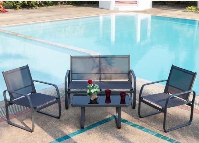 Salon de jardin Lychee 1 table basse, 2 fauteuils et un ...
